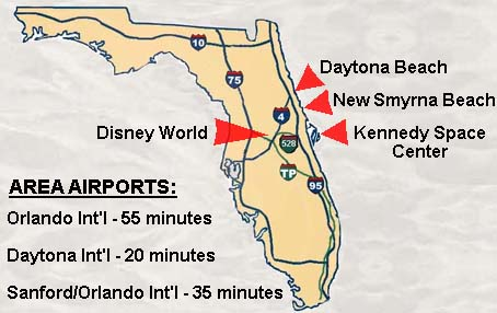 Here is a picture of our condo in relation to Daytona Beach, Disney, & Coco Beach